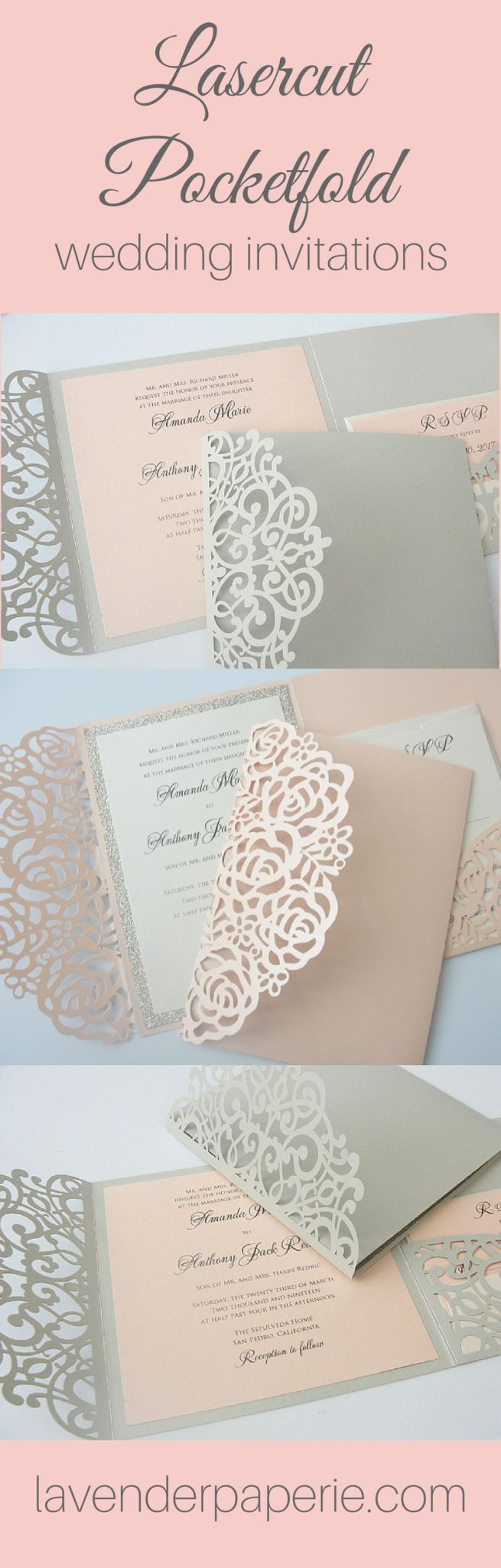Laser Cut Pocket Invitations by Lavender Paperie