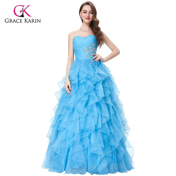 2017 Grace Karin Cheap Yellow/Blue/ Fuchsia Wedding Dress Strapless Organza Ball Gowns Bridal Party Dresses robe de mariage 3411