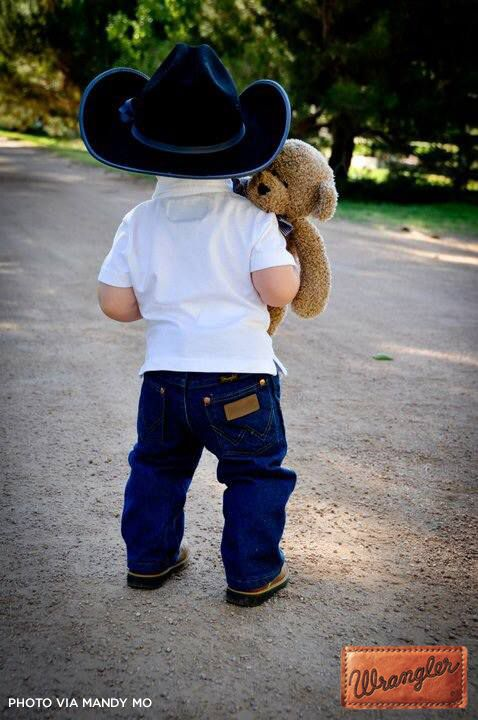 This little cowboy loves his teddy and his Wrangler jeans! #WranglerInTraining #LongLiveCowboys