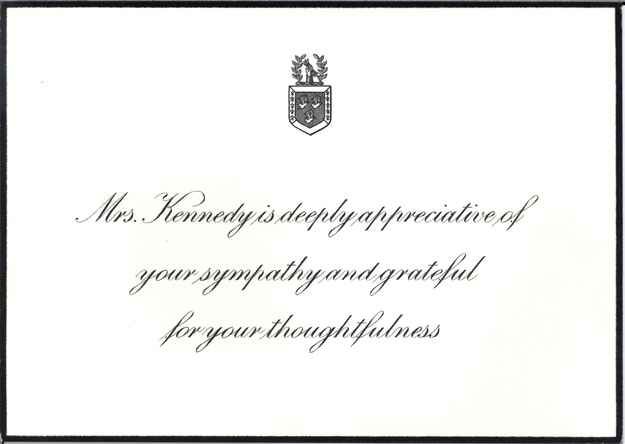 Jackie Kennedy's response card. | 9 Heartfelt Condolence Letters Jackie Kennedy Received From Famous People