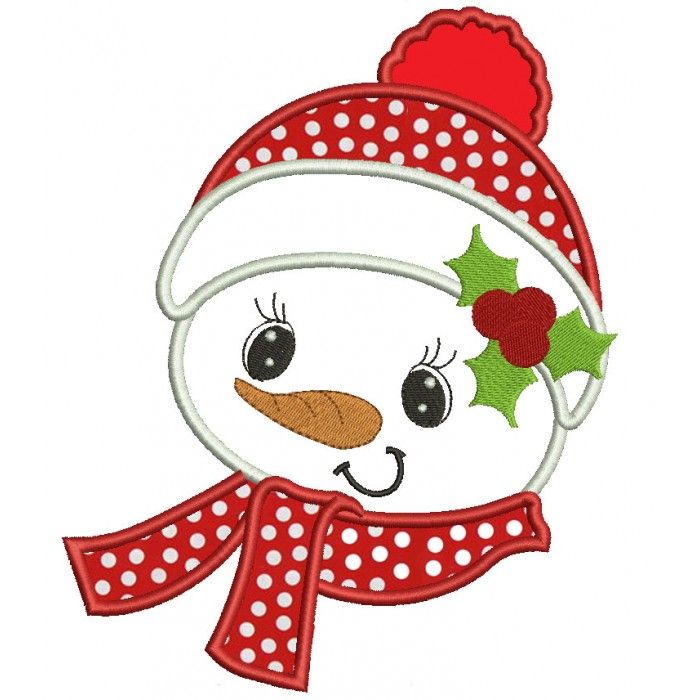 Snowman with a scarf Christmas Applique Machine Embroidery Digitized Design Pattern