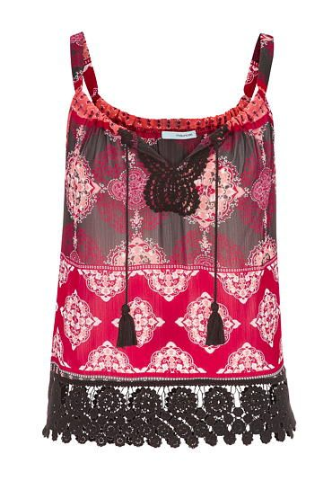 chiffon tank with black crochet hem #maurices