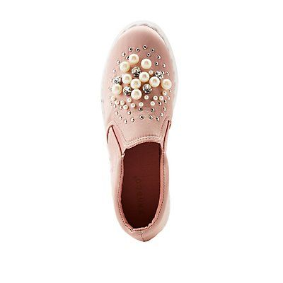 Bamboo Faux Pearl & Crystal Satin Slip-On Sneakers