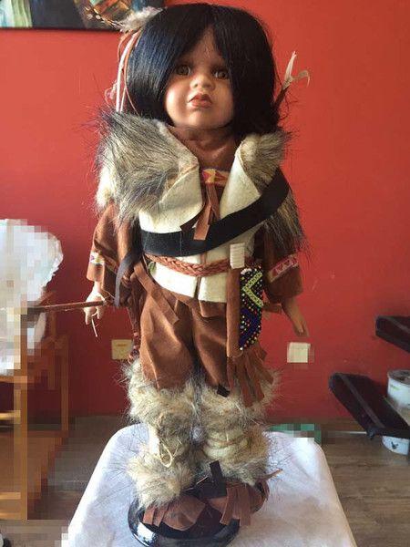 陶瓷娃娃 古董娃娃收藏 出口欧洲库存外贸 罕见印第安黑孩 包邮-淘宝网全球站