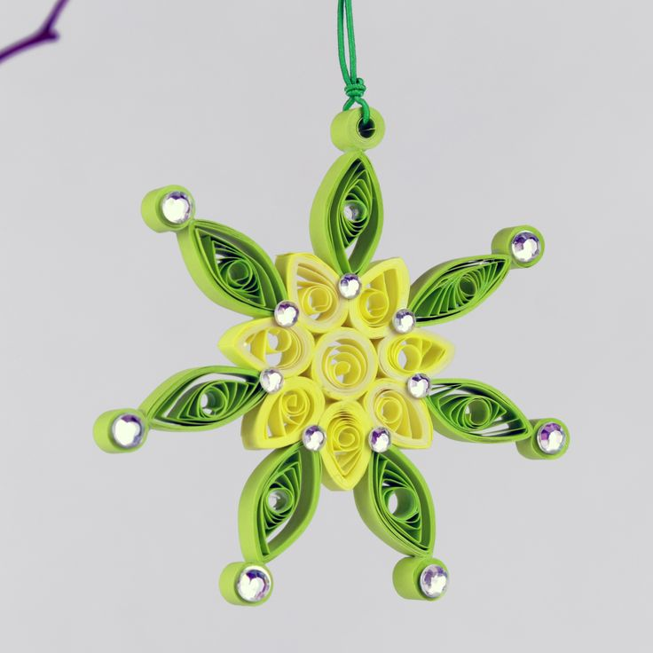 Christmas Green Quilling Snowflake