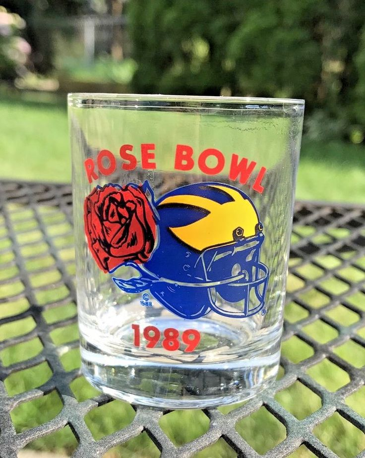 Michigan Wolverines 1989 Rose Bowl Game Big 10 Champs Shot Liquor Glass  | eBay