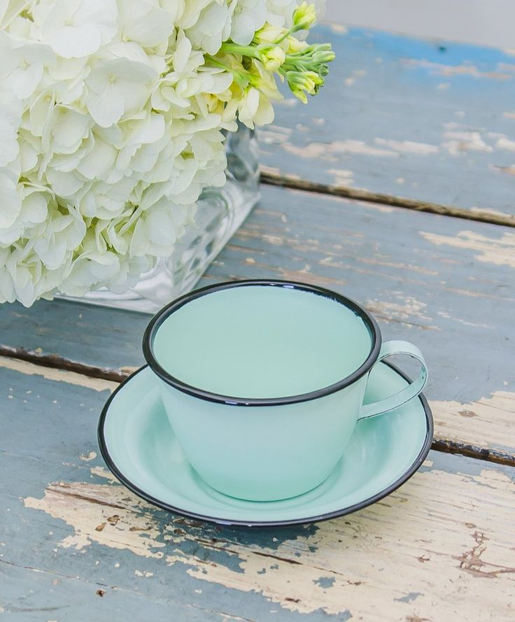 Enamelware Cup and Saucer