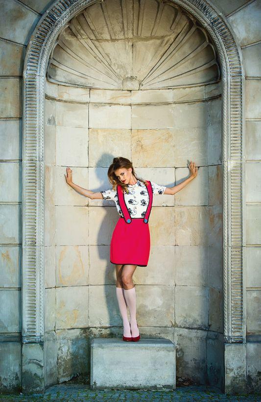 Lovely Justyna Banasiak - Konieczny. Session with Anka Górajka. Fashion/Styling: Agnieszka Iskierka. Red neophrene dress & blouse with animal drawings available online: shop.missspark.com