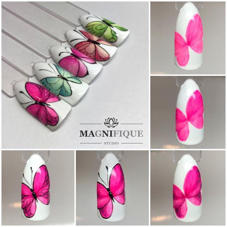 "Magnifque Studio (@magnifique_studio_indigo_nails) auf Instagram: ""Butterfly Tutorial #indigonails #indigolovers #indigonailslab #butterfly #butterflyworld…"" Butterfly nail art tutorial"