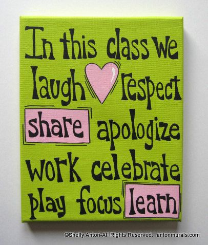 In this class Sign Painted Canvas Teacher Classroom Decoration Custom. $24.95, via Etsy.