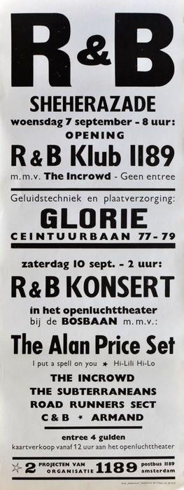 Drie Sixties concert posters (1) de Alan Price Set Cuby en the Blizzards Armand; (2) de talentenjacht van de wandelaars van de sleutel (3)  Drie vroege Nederlandse pop concert posters in zeer goede staat (VG):(1) concert poster voor R(2) concert poster voor de Key en de wandelaars op de Marathon Den Haag Nederland op 1 juli (jaren zestig). 389 x 545 Cm(3) poster voor finale talentenjacht op de Marathon Den Haag Nederland op juni 17 1966. 422 x 571 Cm. lichte kreukels.Worden veilig stuurt in…
