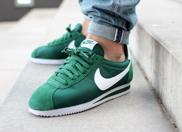 womens nike cortez yellow green