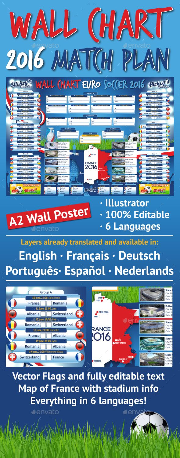 France 2016 Soccer Wallchart Matchplan  #UEFA Euro 2016 #france #championship • Click here to download ! http://graphicriver.net/item/france-2016-soccer-wallchart-matchplan/14153014?ref=pxcr