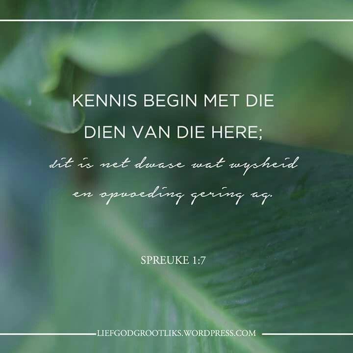 Wandel in Wysheid - Week 1 Maandag – Die Bron van Wysheid  Lees: Spreuke 1:1-7  Hoeveel tyd belê jy daarin om God se Woord te bestudeer? Spandeer jy ewe veel tyd toegewy daaraan om die Woord van God uit te leef?