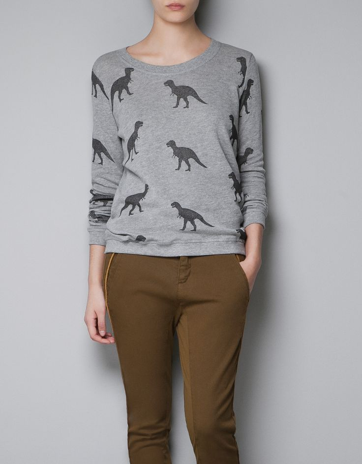 dinosaur sweatshirt by Zara - I can't believe I'm pinning this, but I think my boys would LOVE to have me wear this one day:-)