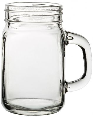 Tennessee Handled Jam Jar Glass (Jeremiah Weed style). Very popular at rustic, outdoor weddings!