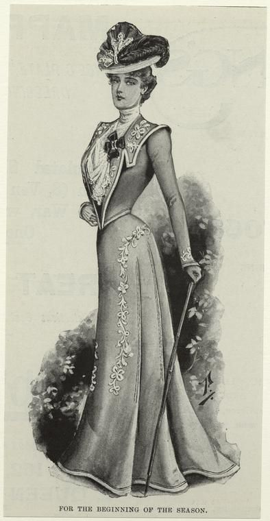 """For the beginning of the season"" from The Illustrated London news, 1900. NYPL Victorian turn of the century fashion plate."