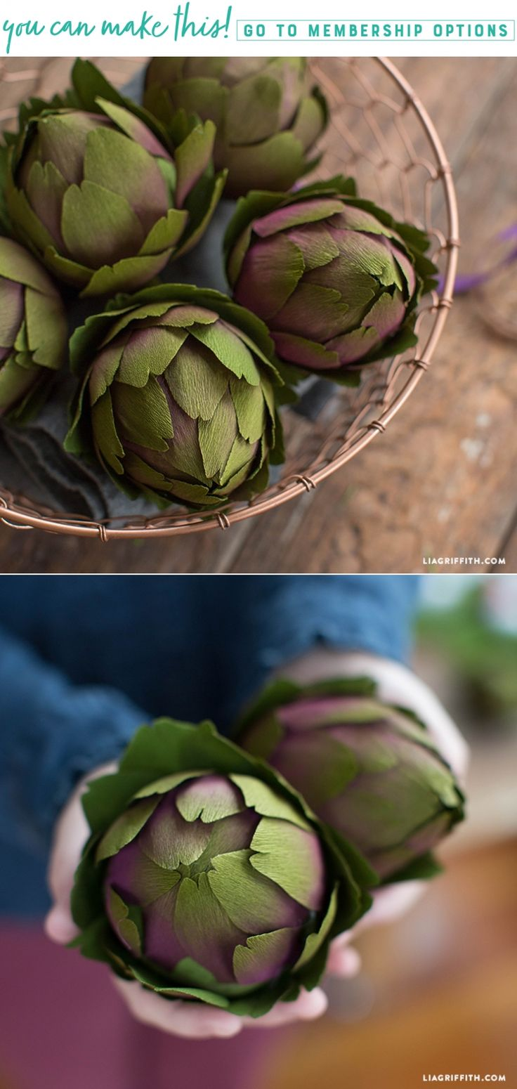Paper Artichokes!!! Learn how to make Double Sided Crepe Paper Artichokes - Lia Griffith - www.liagriffith.com #diyinspiration #crepepaperrevival #crepepaper #diychristmas #diyholiday #diyholidays #paper #paperart #papercraft #papercrafts #madewithlia
