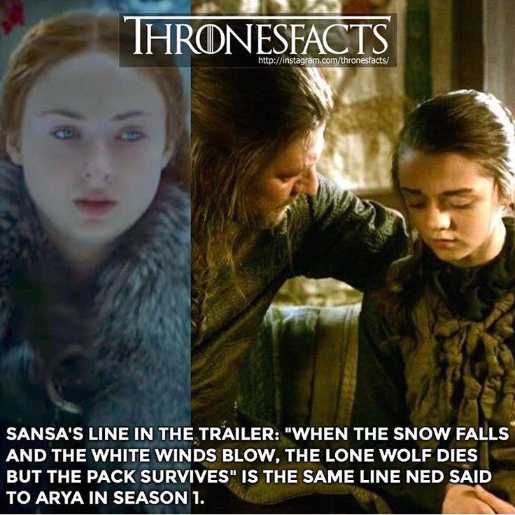 Game of thrones facts. Sansa, Ned, Arya Stark