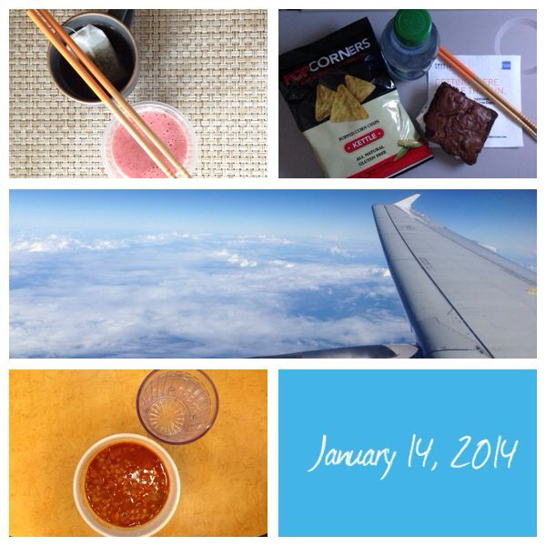 January 14, 2014. #food #puertorico #boston #backtocollege #bostonuniversity #smoothie #strawberries #banana #popcorn #chips #brownie #soup #beans #water #airplane #greentea #chopsticks #Foodie787