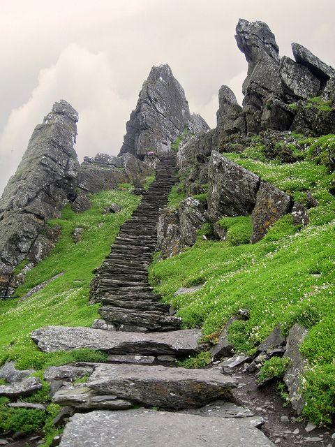 Stairs leading to Skellig Michael Monastery, Ireland (by dymet).