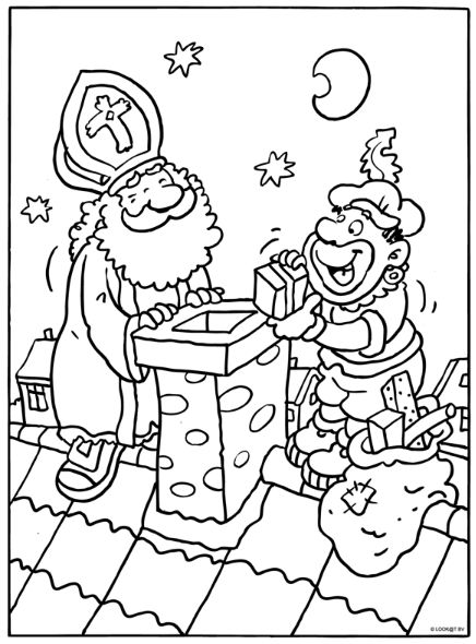 Sint en Piet op het dak