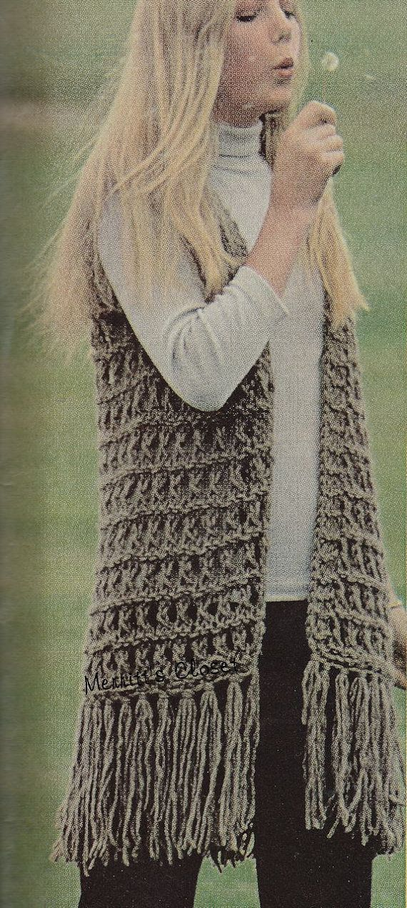 QUIck to MAke Jumbo Knit Vest with Fringe Size 8 by MerrittsCloset