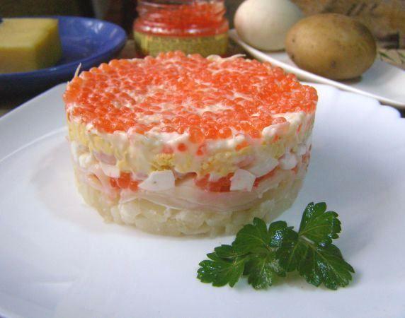 Праздничный Салат с креветками, кальмаром и икрой  #салаты #кулинария #рецепты #блюдо