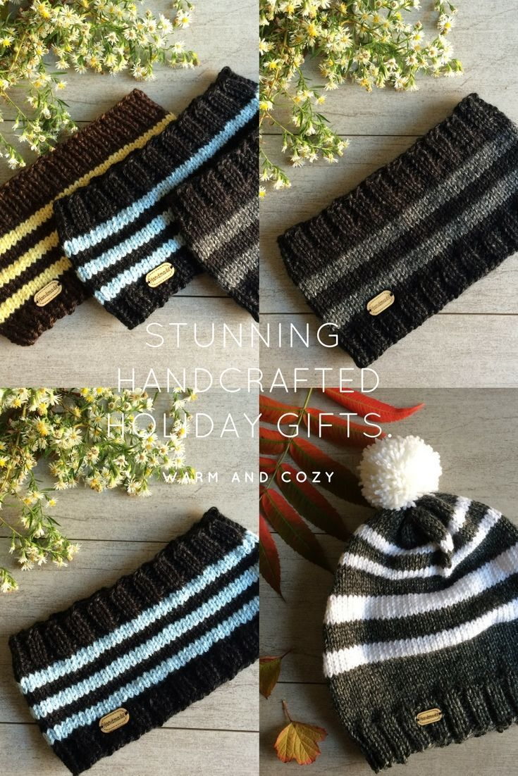 Hand Knit Holiday Gifts. Cute and Comfy Perfect Gift Ideas for Any Occasion. Headbands, Fingerless Gloves, Infinity Scarves, Yoga Socks and More.