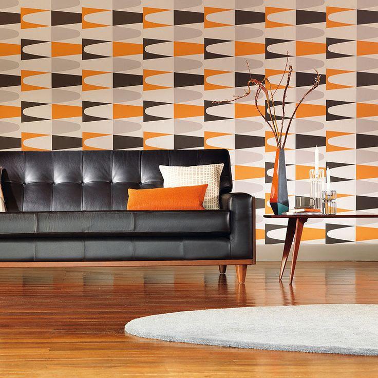 'Carnival' Geometric patterned wallpaper in Grey  Orange - Retro Wallpaper