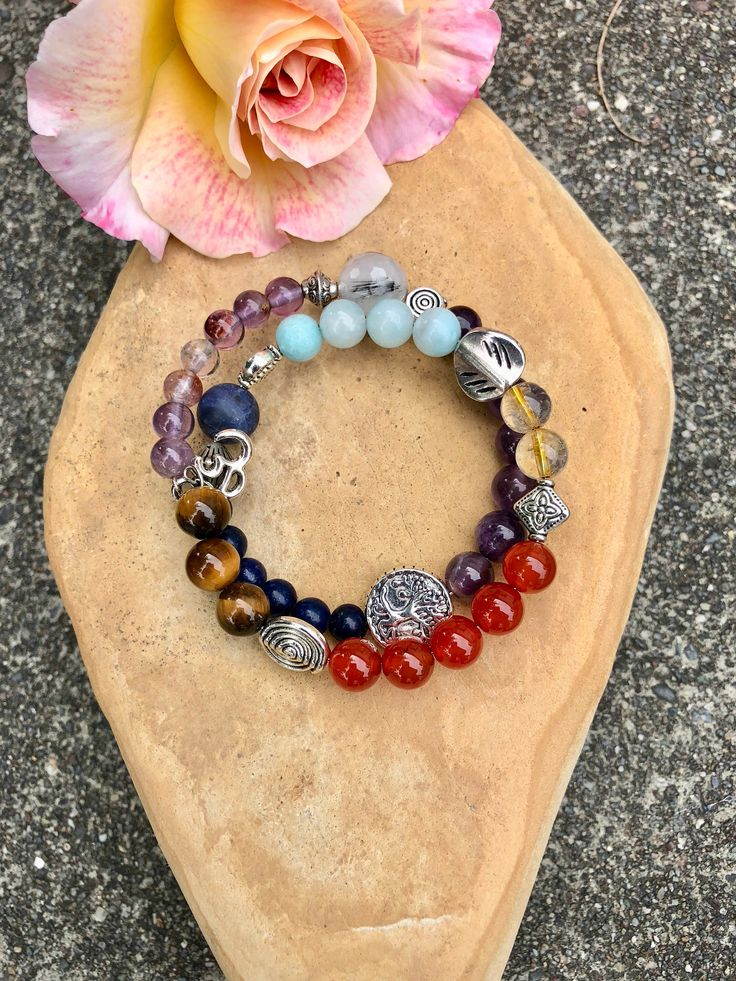 SUPER 9 CHAKRA BRACELET-Tiger's Eye, Carnelian, Citrine, Amazonite,Sodalite, Lapis, Amethyst, Black Tourmalated Quartz, Super 7, Om Charm – Crystal Healing