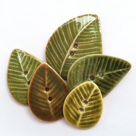 Leaves of Green Porcelain Button Assortment by carolmilich on Etsy, $18.00