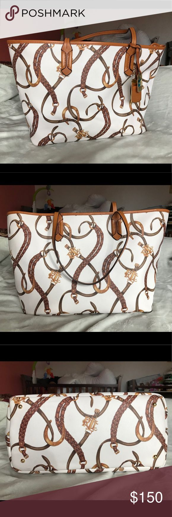 Ralph Lauren chain tote bag purse No flaws gently used. White with brown and gold details. Lauren Ralph Lauren Bags Totes