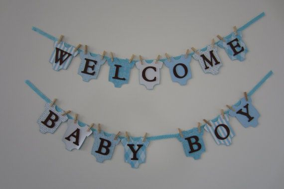 Baby Shower Banner Baby Boy  Welcome Baby  by PoshPaperPartiesCo, $38.00