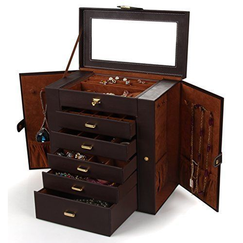 Leather Jewelery Box Case Storage Cabinet Ring Armoire Chest Necklace Big NEW  #JeweleryBox