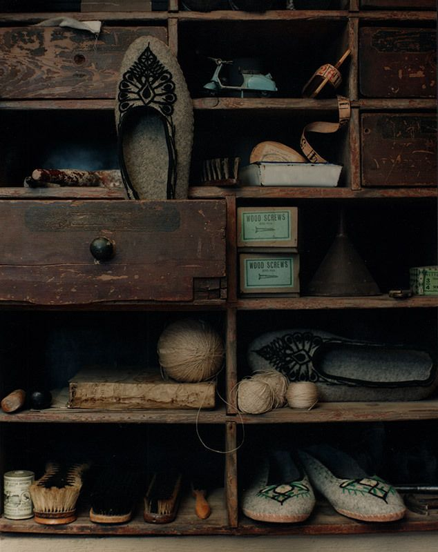 Love old shelves filled with treasures.  By Sarah Maingot
