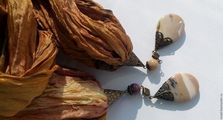 """Купить Палантин шелковый серии """"Арабские ночи. Яшмовая"""" с натуральным камнем. - сафари, хаки"""