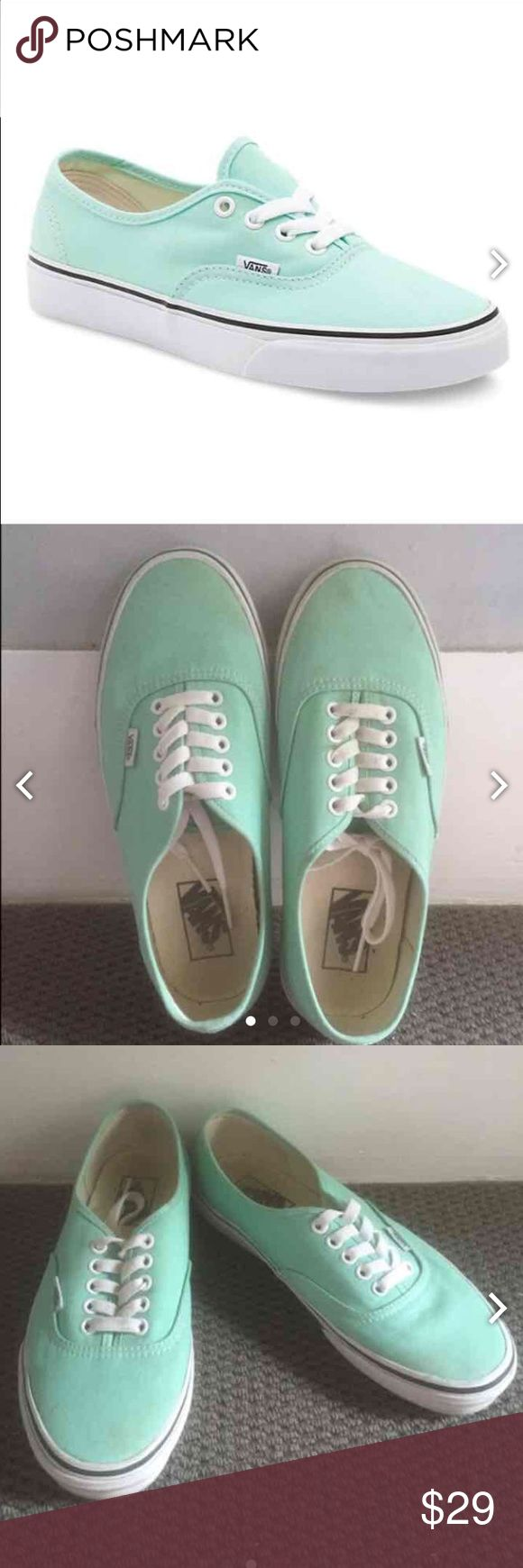Teal Vans Team vans. Worn once, size was too big for me. Some dirt stains, but can easily be cleaned.   READ INFO BELOW  No trades, all sales are final.   Always willing to negotiate prices, make me an offer!   Bundles of 3 or more are 15% off!!!   I ship between 2-3 days based on my work/ school schedule and the lack of a home printer.  All items come from a smoke free home!   Feel free to ask anymore questions you have(: Vans Shoes Sneakers