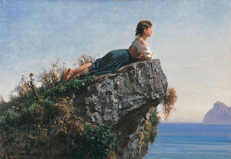 Filippo Palizzi - La ragazza sulla roccia a Sorrento - 1871