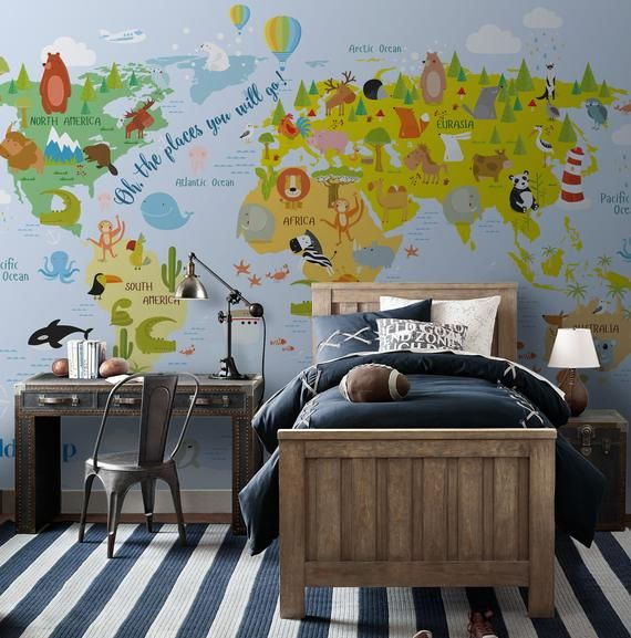 Kids World Map Repositionable Wallpaper Decal Peel And Stick Etsy Kids Room Wall Decor World Map Mural Kids World Map