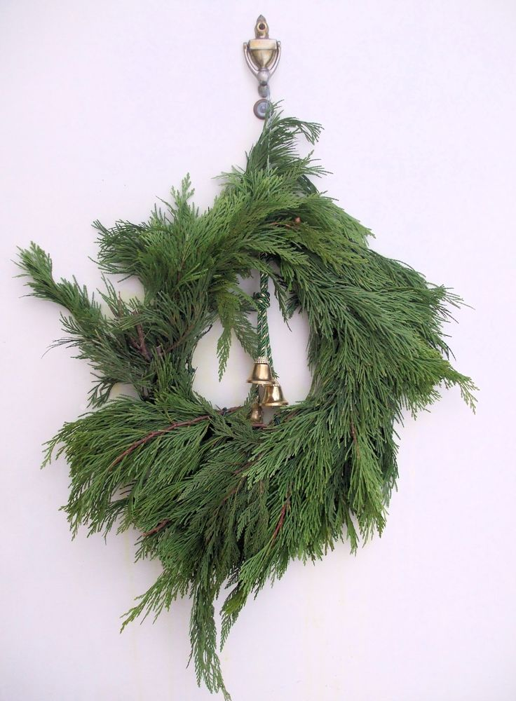 """Christmas Wreath 3:  shaggy home-made Christmas wreath of evergreen branches, hanging from a door knocker and decorated with three gold bells.  Plain white background.  Image size 1875 x 2550px (300ppi); prints at 6.25 x 8.5""""."""