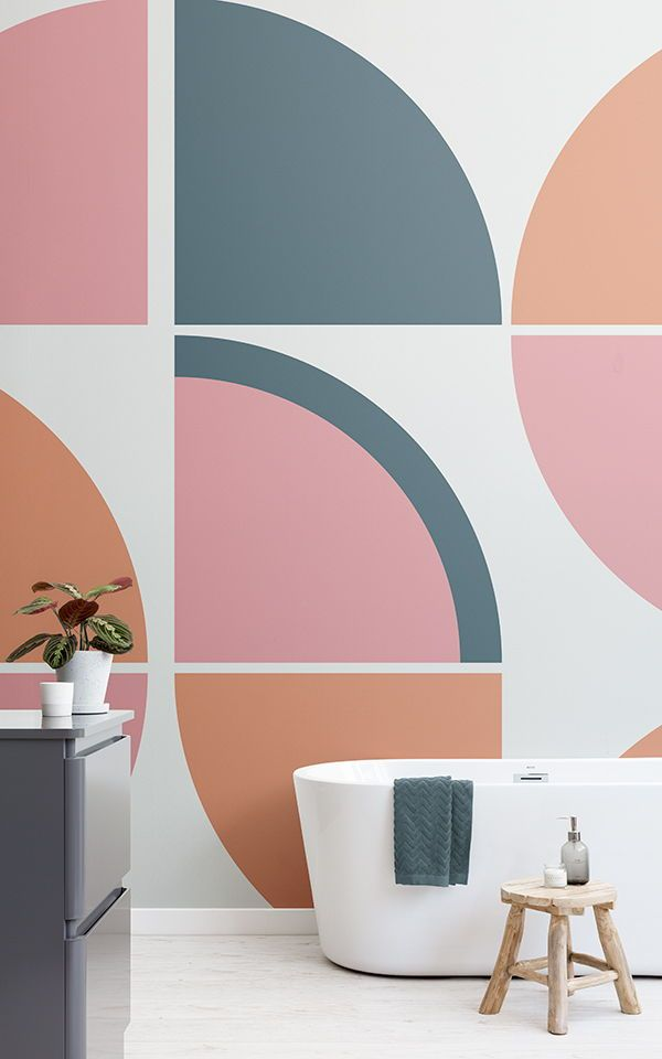 Pink Retro Geometric Wallpaper Muralswallpaper Vintage Interior Design Mid Century Modern Wallpaper Interior Wall Paint