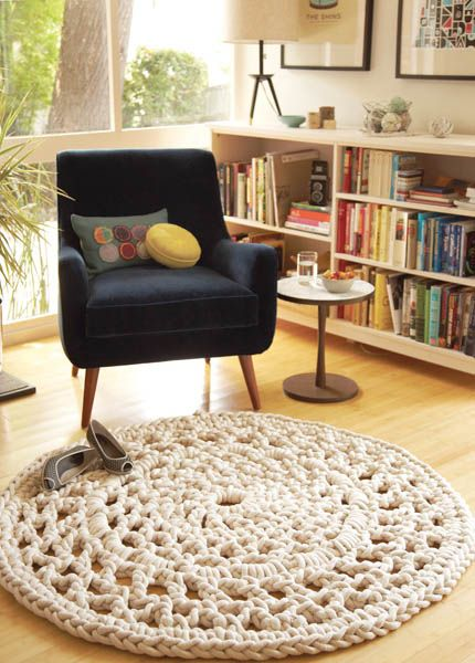 Giant doily rug project from Crafting a Meaningful Home. This book has lots of great projects in it. Am also loving that bookcase.