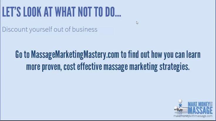 Massage Marketing Strategies - Discounting is NOT Marketing!