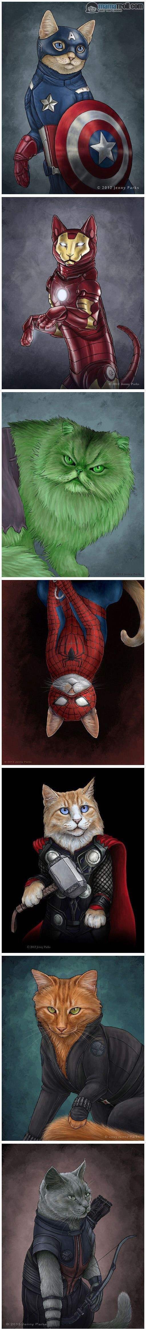 If the Avengers and Spider man were cats