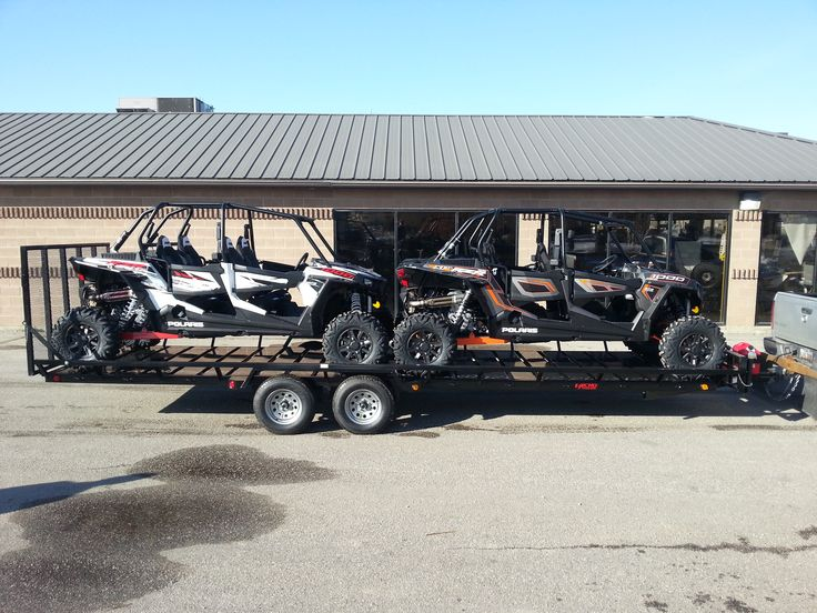 The Echo Elite 24' ATV-UTV trailer is the only way to carry two full size four seat side by side machines. It will also carry 5 ATV's if they are side loaded.