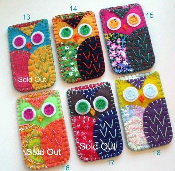 Felt Owl Ipod/ Iphone/ Blackberry/ Camera/ Gadget  Case CozyMADE TO ORDER. $22.00     Ordered #15 (: