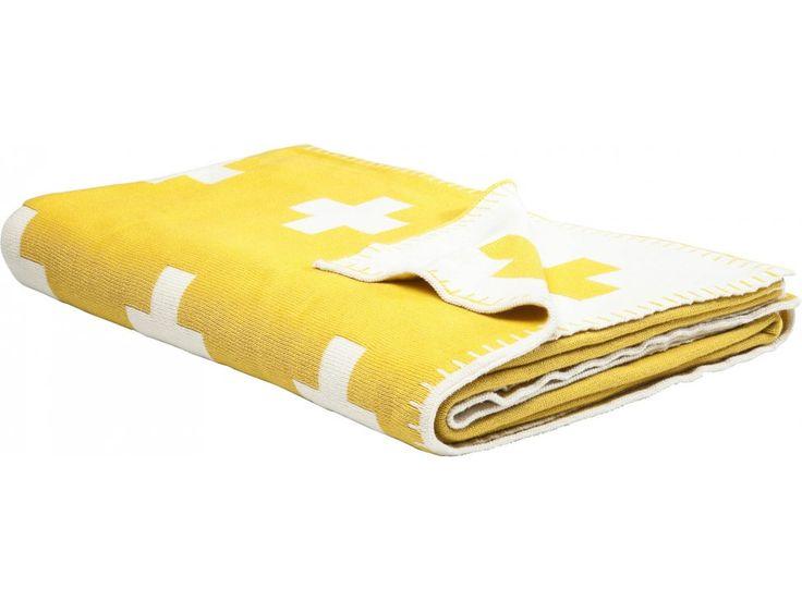 Koc Cross — Narzuty i koce Kare Design — sfmeble.pl #yellow #design