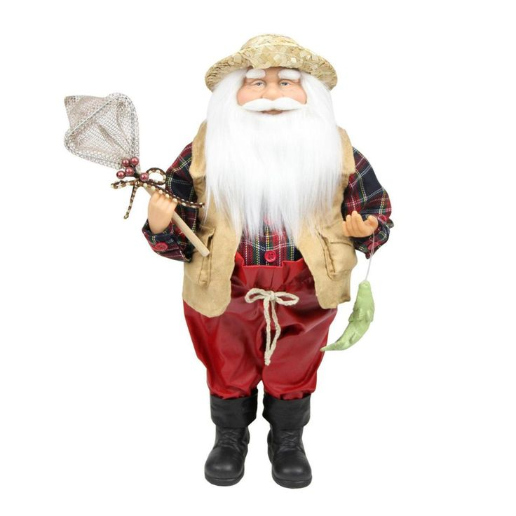"""18"""" Rustic Lodge Fisherman Santa Claus with Net and Fish Christmas Tabletop Decoration - 31734603"""