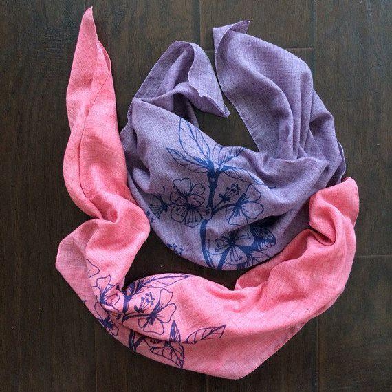 Cherry branch square scarf. Women's blossom square от H2Ofashion